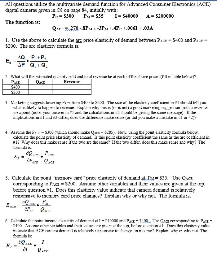 All Questions Utilize The Multivariate Demand Func Chegg Com