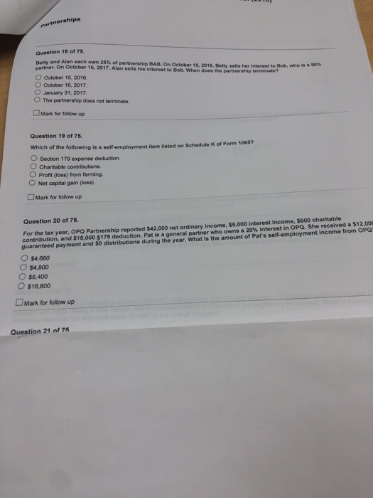 form 1065 question 25  Solved: Partnerships Question 8 Of 8. Betty And Alan,eac ...