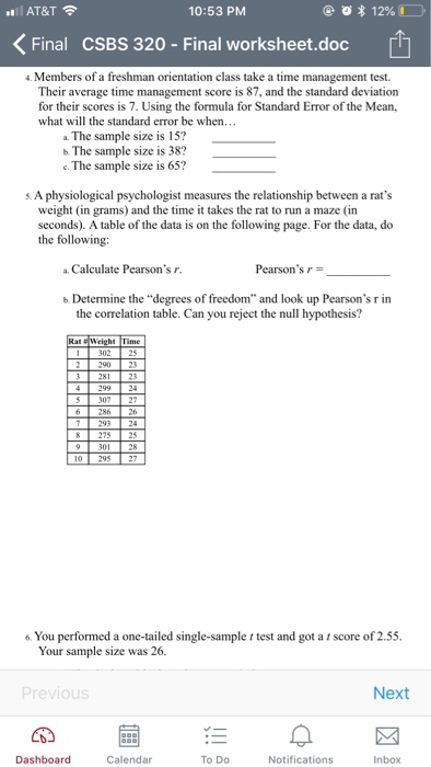 Solved: AT&T 10:53 PM KFinal CSBS 320 - Final Worksheet.do ...