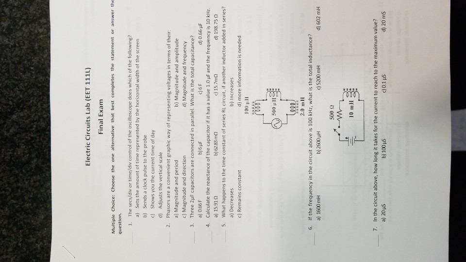 Electrical Circuits Lab Exam Questions - Somurich com