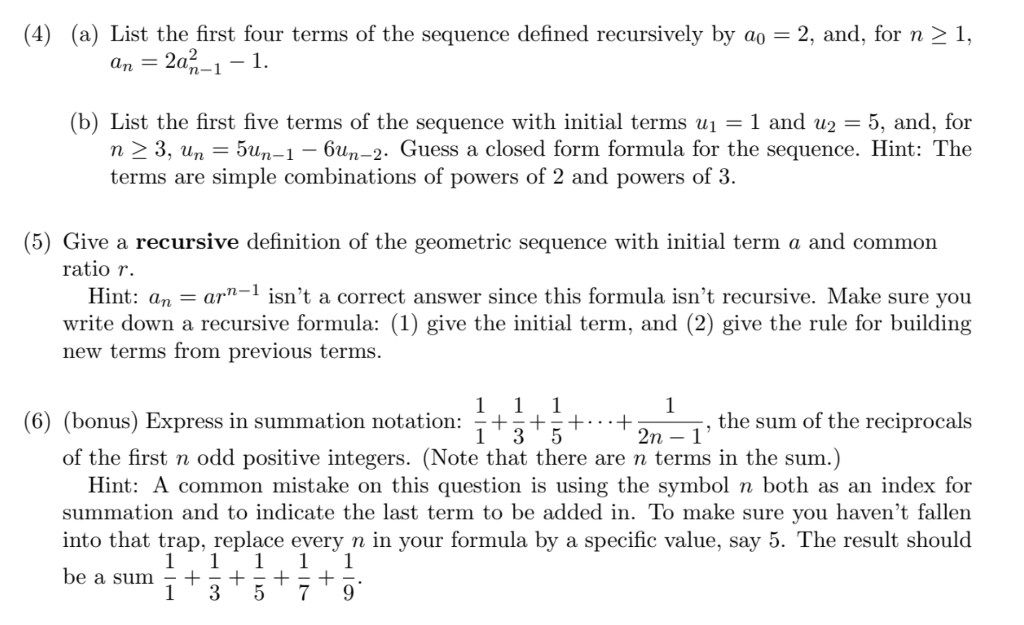 Solved: (4) (a) List The First Four Terms Of The Sequence