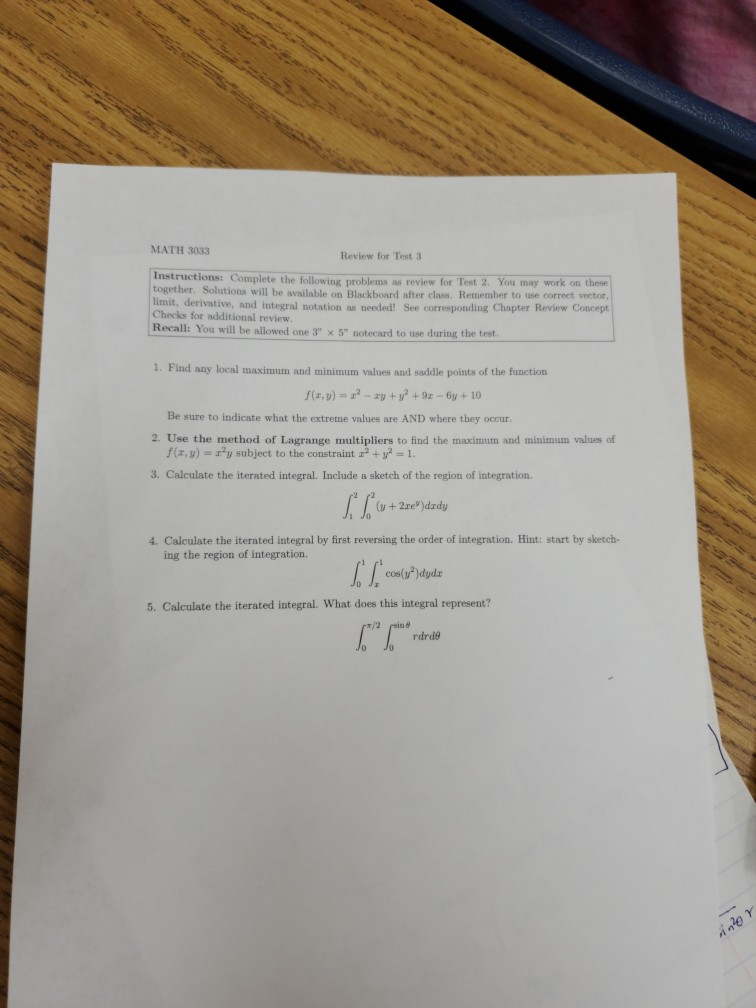 Solved: MATH 3033 Review For Test 3 Instructions: Complete