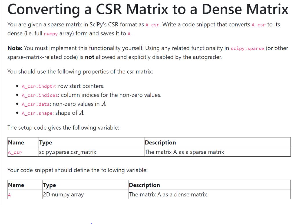 Converting A CSR Matrix To A Dense Matrix You Are