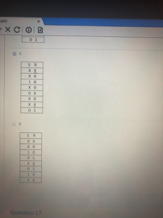 am 0 1 1 0 0 X x 0 0 1 S R 0 1 0 Question 17