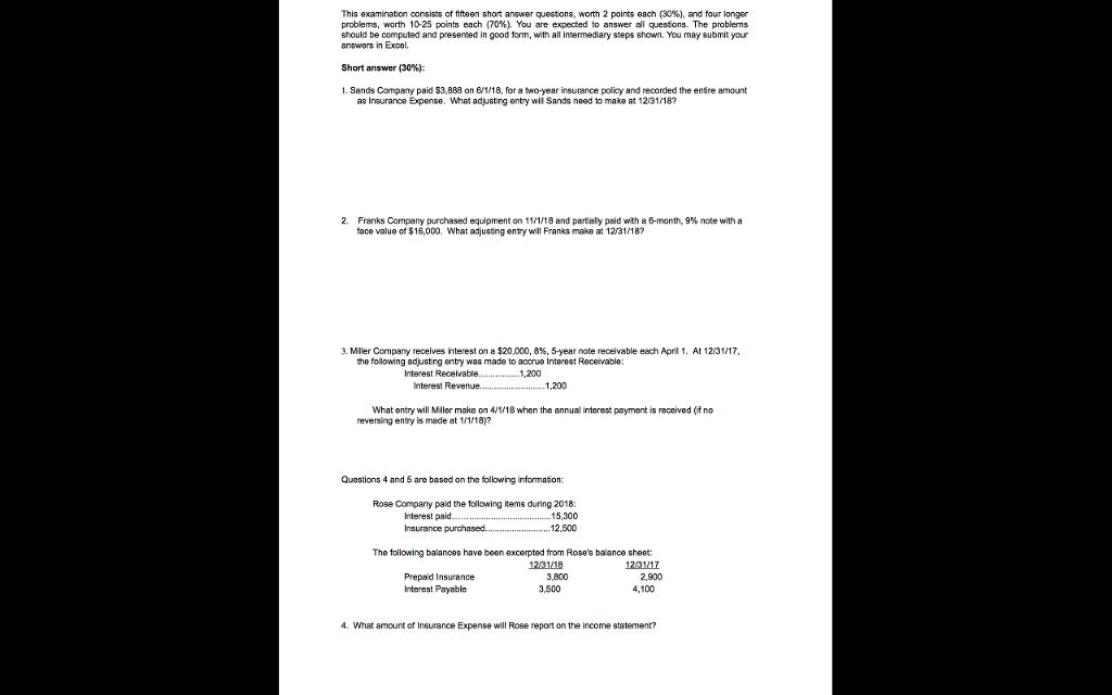 short note on examination