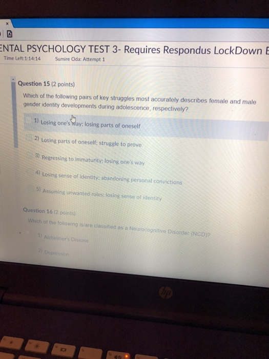 Solved: NTAL PSYCHOLOGY TEST 3- Requires Respondus LockDow