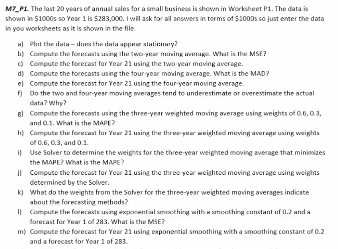 m7 p1 the last 20 years of annual sales for a sma chegg com