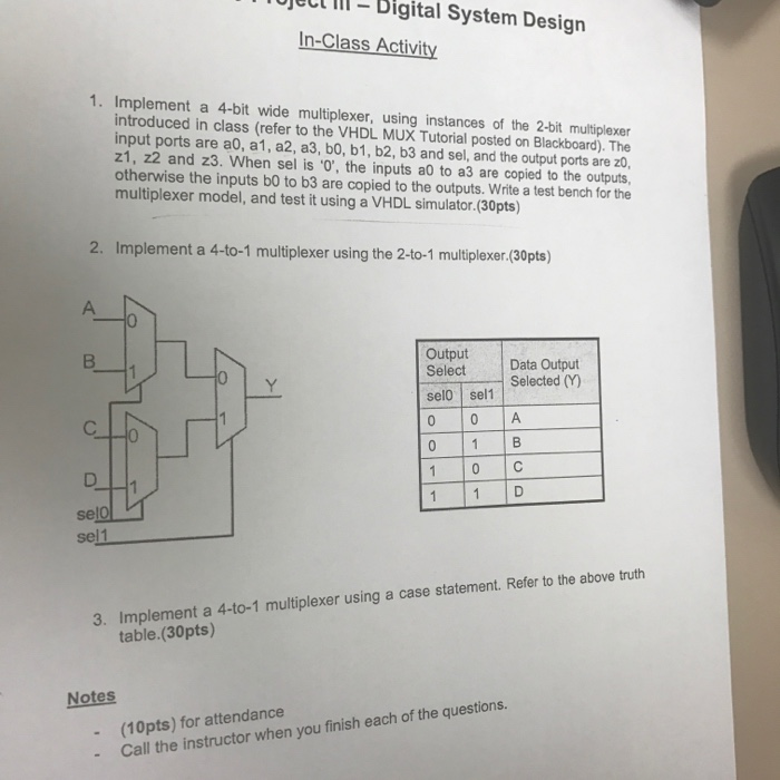 Solved Ject Lll Digital System Design In Class Activity Chegg Com