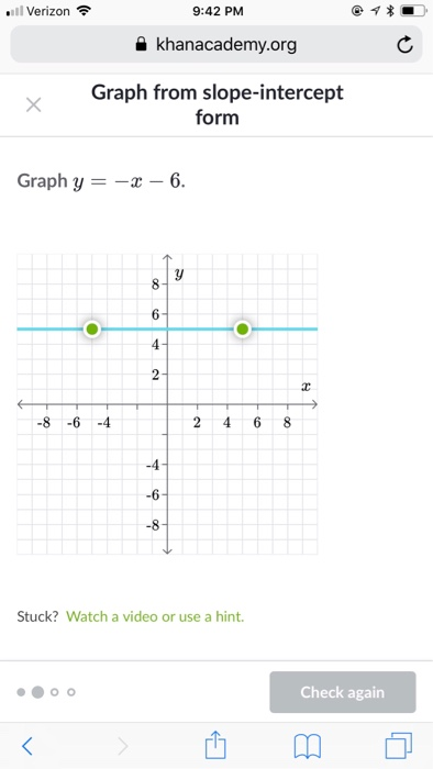 slope intercept form khan academy  Solved: .11 Verizon令 11:11 PM Khanacademy.org Graph From S ...