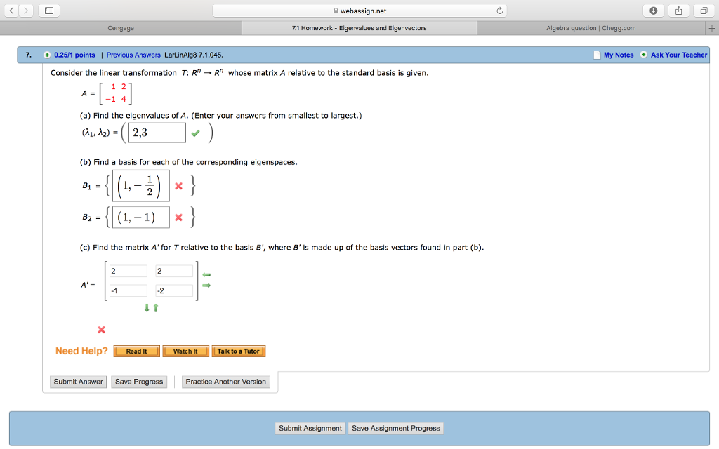 Solved: Webassign net Cengage 7 1 Homework Eigenvalues And
