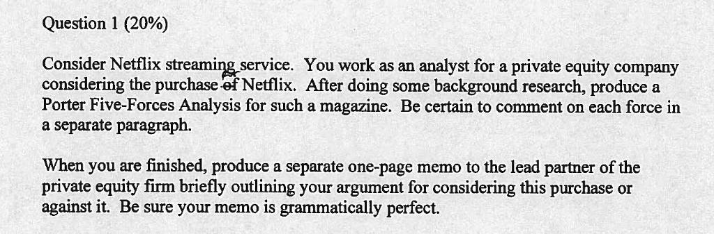 Question 1 20 Consider Netflix Streaming Servic Cheggcom