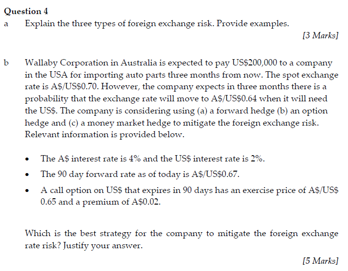what are the major types of foreign exchange risks