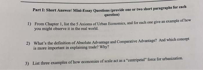 Solved: Part I: Short Answer/ Mini-Essay Questions (provid ...
