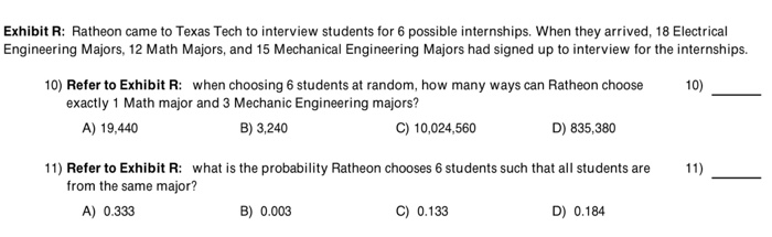 Solved: Exhibit R: Ratheon Came To Texas Tech To Interview ...