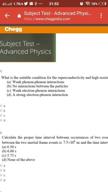 Solved: 4G Ill 1 7K/s21:53 Subject Test - Advanced Physi