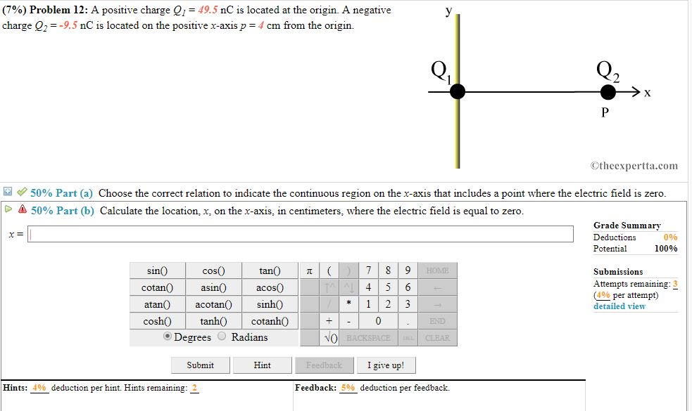 796 Problem 12 A Positive Charge O 495 NC Is Located