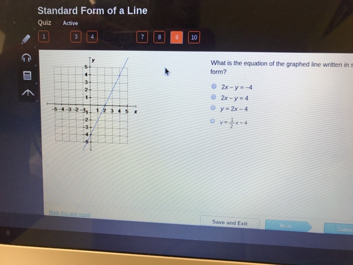 Solved Standard Form Of A Line Quiz Active 10 The Equatio