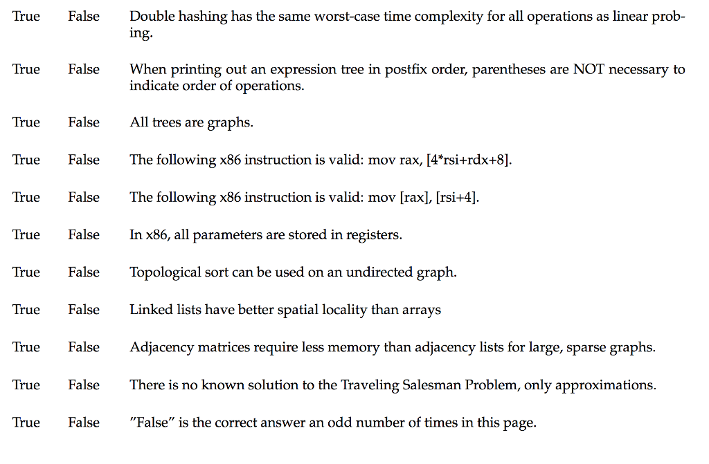 Solved: True False Double Hashing Has The Same Worst-case