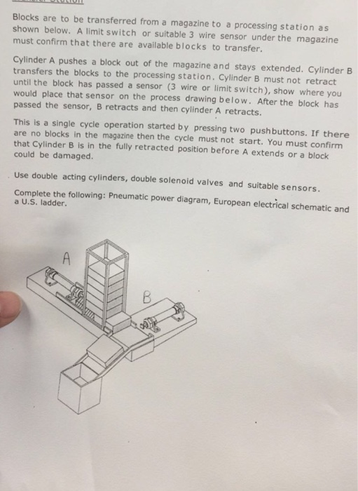 Solved: Blocks Are To Be Transferred From A Magazine To A ... on 3 wire cable, 3 wire light, 3 wire stepper motor, 3 wire power supply, 6 wire limit switch, 4 wire limit switch, 1 wire limit switch, 3 wire load cell, 3 wire push button, 3 wire circuit breaker, 3 wire terminal block, 3 wire junction box, 3 wire control,