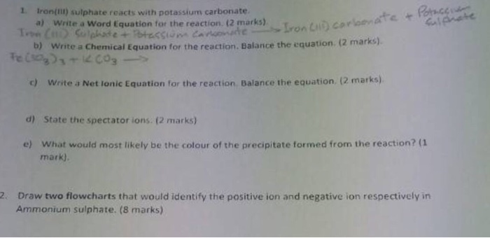 Solved 1 Ironill Sulphate Reacts With Potassium Carbonat