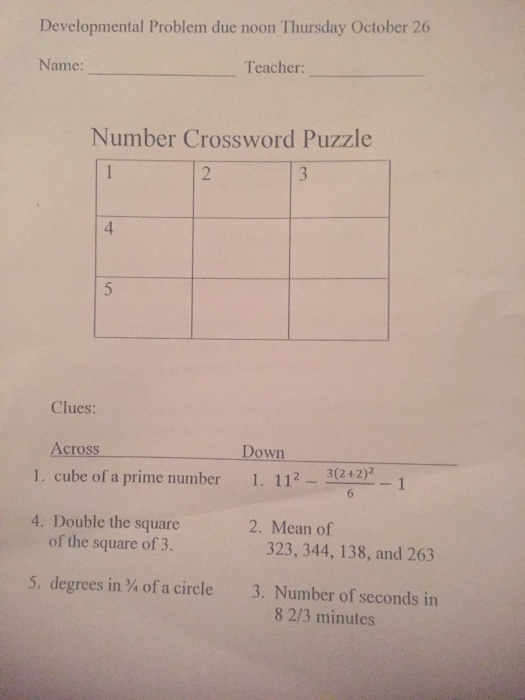 Algebra archive october 25 2017 chegg developmental problem due noon thursday october 26 name teacher number crossword puzzle 4 clues ccuart Choice Image