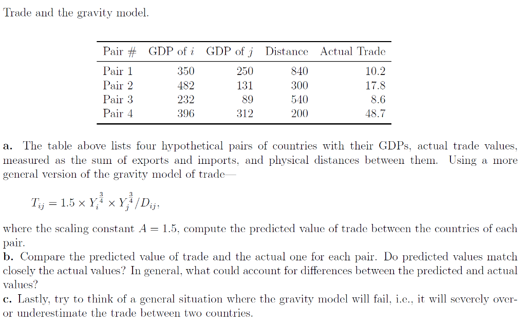 solved trade and the gravity model air 1 pair 2 pair air