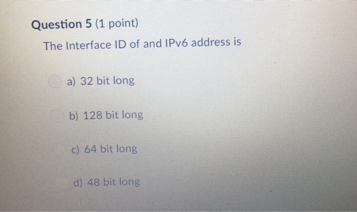 Solved: Question 1 (1 Point) An IPv6 Link Local Address Ca