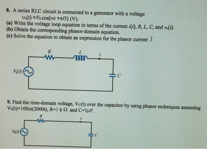 Solved: A Series RLC Circuit Is Connected To A Generator W ...