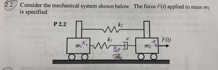 Consider the mechanical system shownbelow. TheforceH0appliedtomassm2 is specified. 2 上一 P 2.2 k2 ki Xo