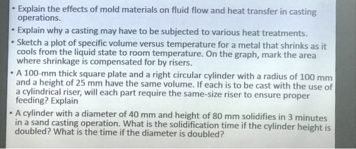 Explain The Effects Of Mold Materials On Fluid Flow And Heat Transfer In Casting Operations
