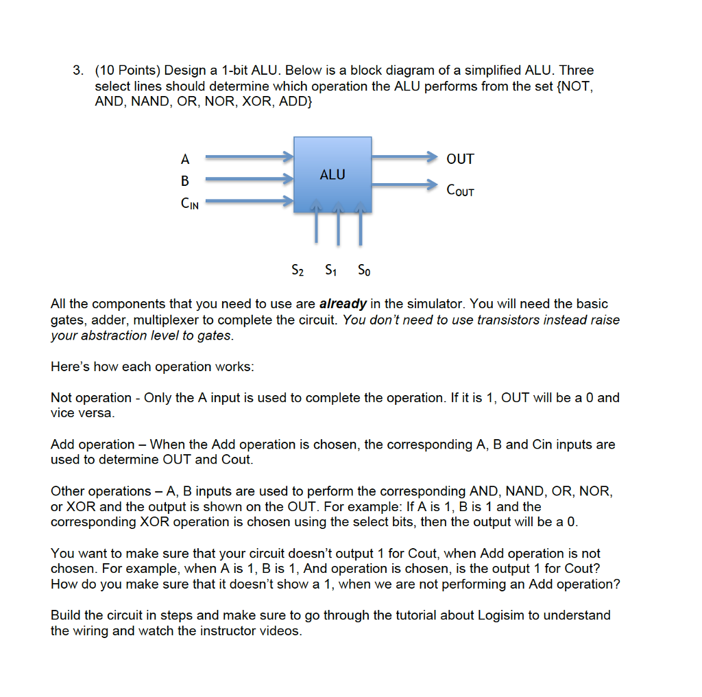 Solved 3 10 Points Design A 1 Bit Alu Below Is Bloc Circuit Basics With Your Students And Have Them Build Closed Question Block Diagram Of Simplified Three Select Lin