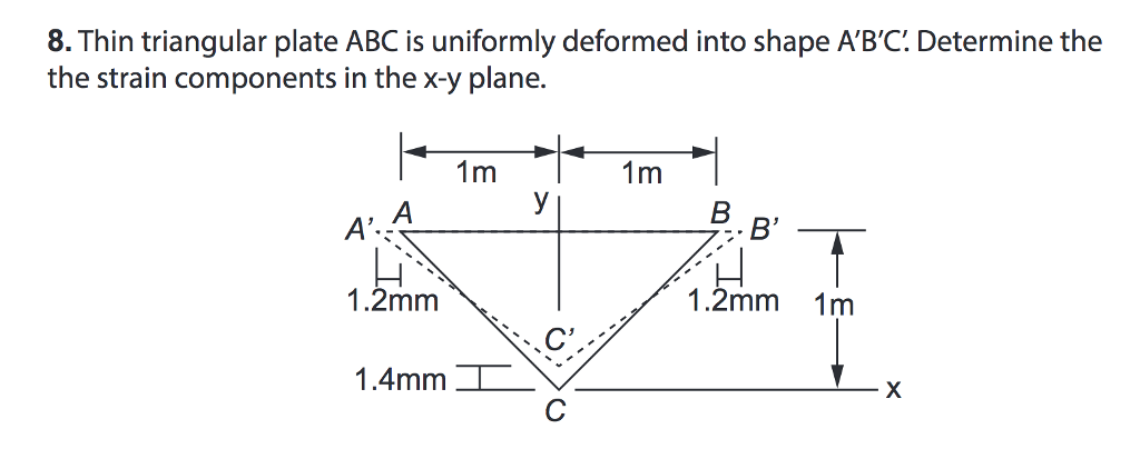 8. Thin triangular plate ABC is uniformly deformed into shape ABC: Determine the the strain components in the x-y plane. B 1.2mm 1.2mm 1m 1.4mm