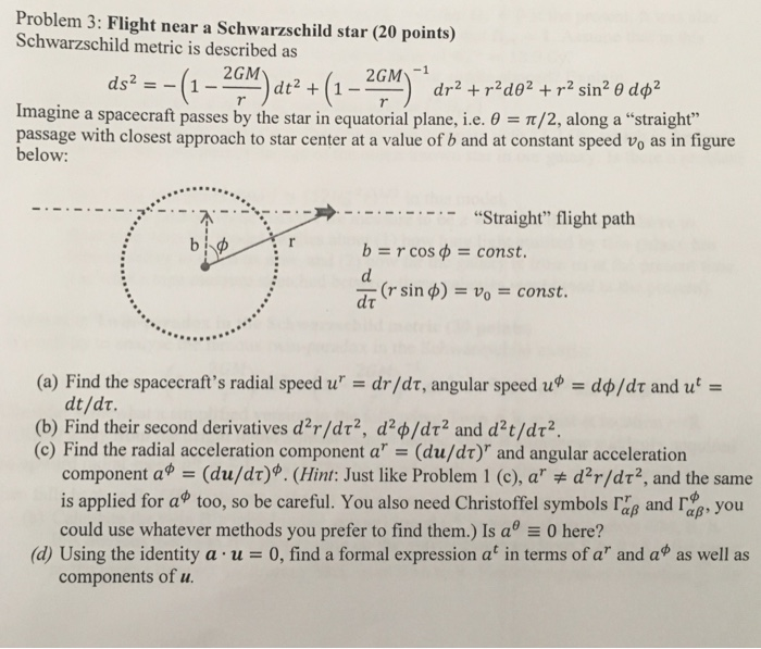 Problem 3 Flight Near A Schwarzschild Star 20 Points Metric Is Described