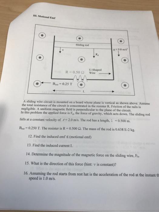 Solved: 111. Motional Emt Sliding Rod G-9.8 M/s R-0.50 ? U ...