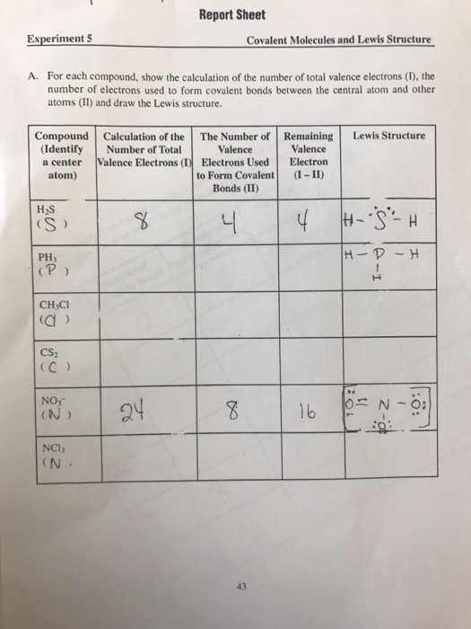 Solved: Report Sheet Experiment 5 Covalent Molecules And L ...