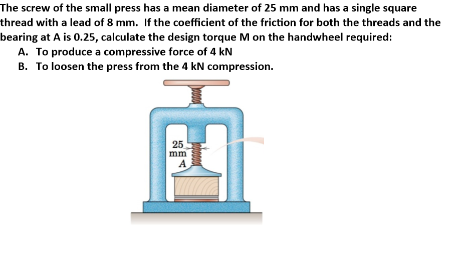 Solved: The Screw Of The Small Press Has A Mean Diameter O