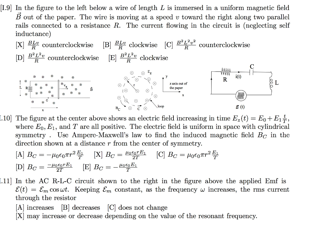 Solved: I.9] In The Figure To The Left Below A Wire Of Len ...