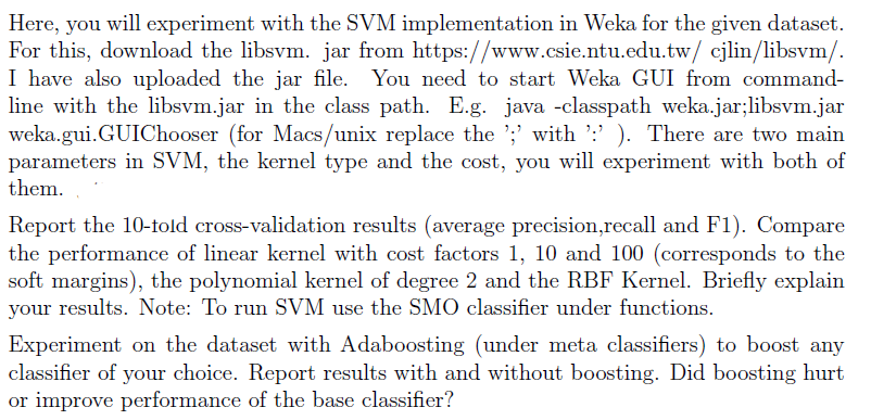 Here, You Will Experiment With The SVM Implementat      Chegg com