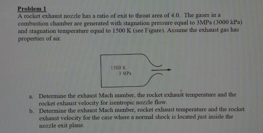 Problem 1 A rocket exhaust nozzle has a ratio of exit to throat area of 4.0. The gases in a combustion chamber are generated with stagnation pressure equal to 3MPa (3000 kPa) and stagnation temperature equal to 1500 K (see Figure). Assume the exhaust gas has properties of air 500 K 3 MIPa Determine the exhaust Mach number, the rocket exhaust temperature and the rocket exhaust velocity for isentropi nozzle flow. Determine the exhaust Mach number, rocket exhaust temperature and the rocket exhaust velocity for the case where a normal shock is located just inside the nozzle exit plane. a. b.