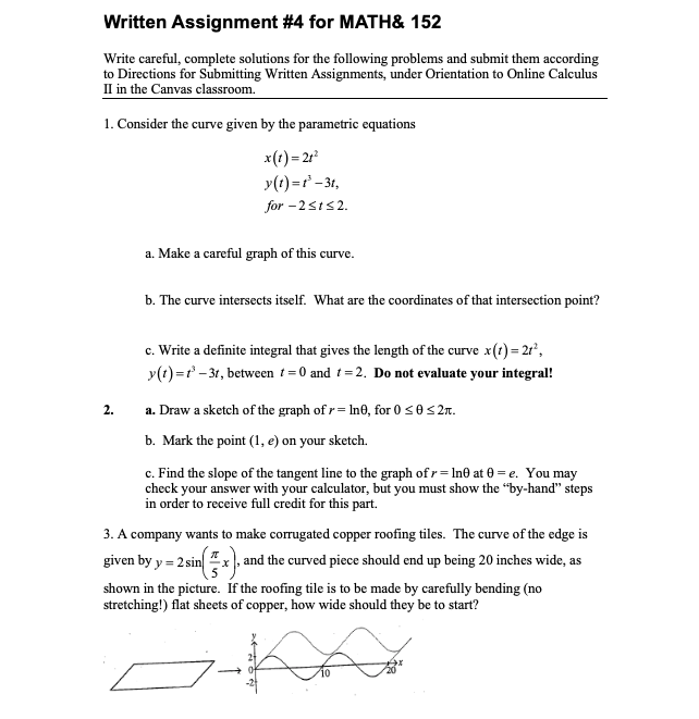 Solved: Written Assignment #4 For MATH& 152 Write Careful