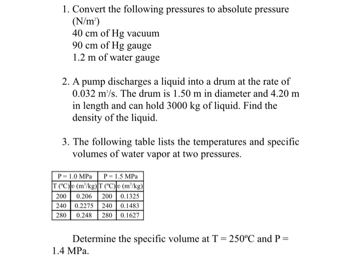 Convert The Following Pressures To Absolute Pressure N M 40 Cm