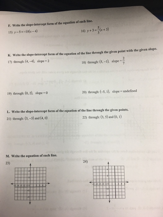 slope intercept form review worksheet  Solved: Writing Equations Of Lines Review A. Write The Slo ...
