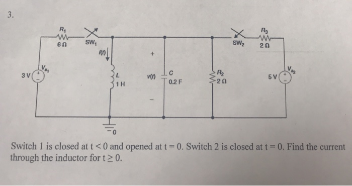 Solved: Switch 1 Is Closed At T=0    Chegg com