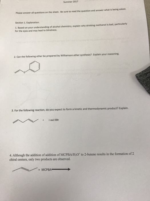 Solved: Based On Your Understanding Of Alcohol Chemistry