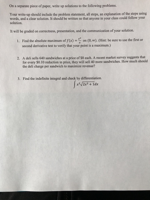 Solved: On A Separate Piece Of Paper, Write Up Solutions T