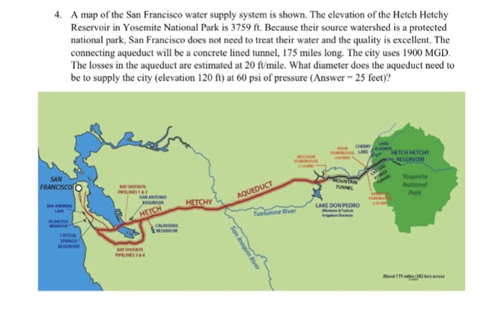 Solved: 4. A Map Of The San Francisco Water Supply System ... on map of chicago, map of new york city, map of los angeles, map of chico, map of mt. shasta, map of sf, map of oakland, map of heathrow, map of seattle, map of sanfransisco, map of raleigh,