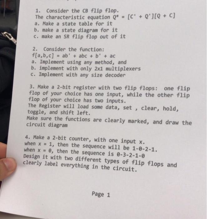 354a7e7ec5a8 Solved  1. Consider The CB Flip Flop.  C  + Q )(Q + C  The ...