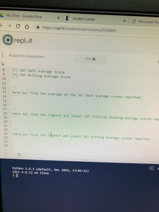 Solved: Repl It Data A 4 Back To Classroom Lscores [[