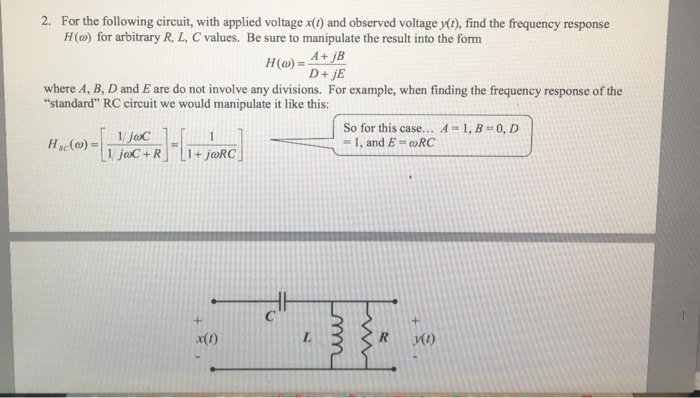 Solved 2 For The Following Circuit With Applied Voltage