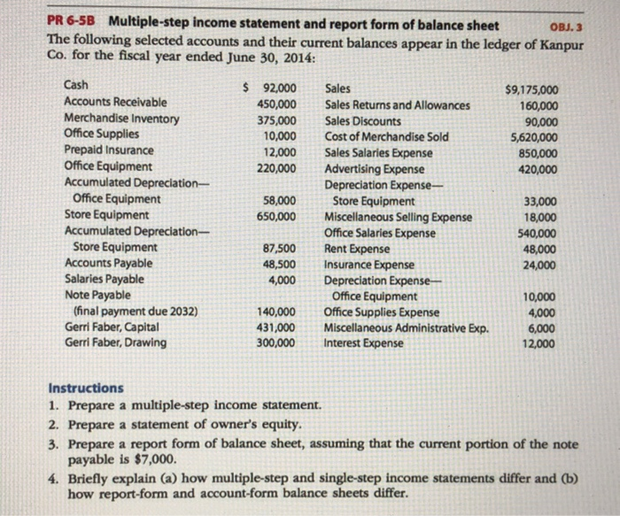 solved pr 6 5b multiple step income statement and report